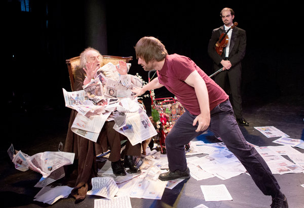 """From left, MacIntyre Dixon, 82, as the title character, Colin Pip Dixon and Arnaud Ghillebaert in """"His Majesty, the Devil."""" Credit Ruth Fremson/The New York Times"""