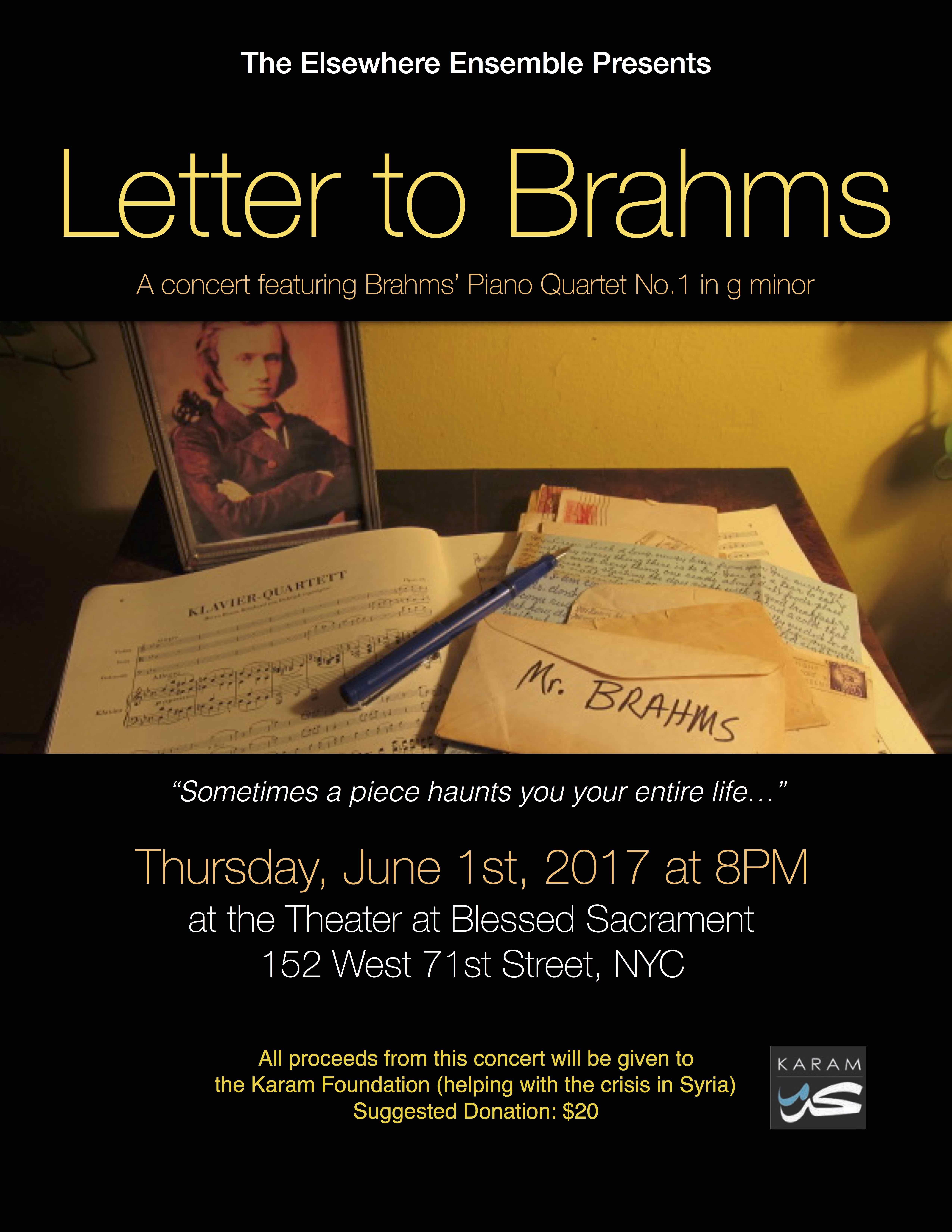 Concert June 1st – Letter to Brahms (front)